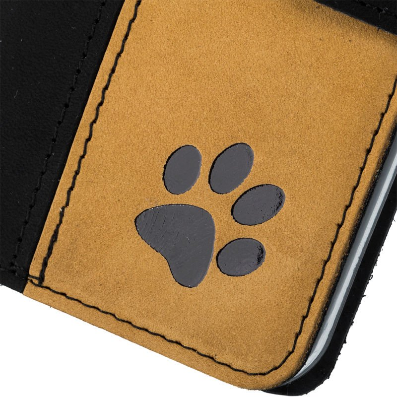 Wallet case - Nubuck Black and Camel - Paw