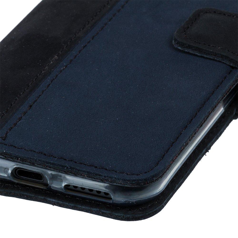 Wallet case - Nubuk Schwarz und Marineblau