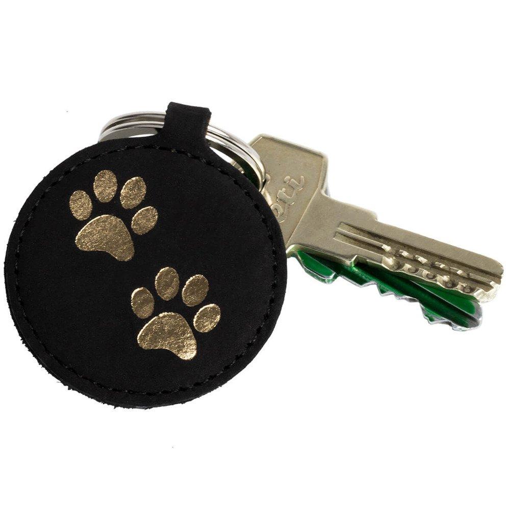 Brelok na klucze - Nubuk Czarny - Dwie Łapy Złote