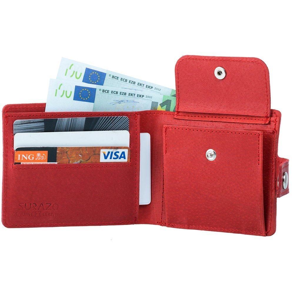 Klasyczny portfel z miejscem na karty - Costa Czerwony