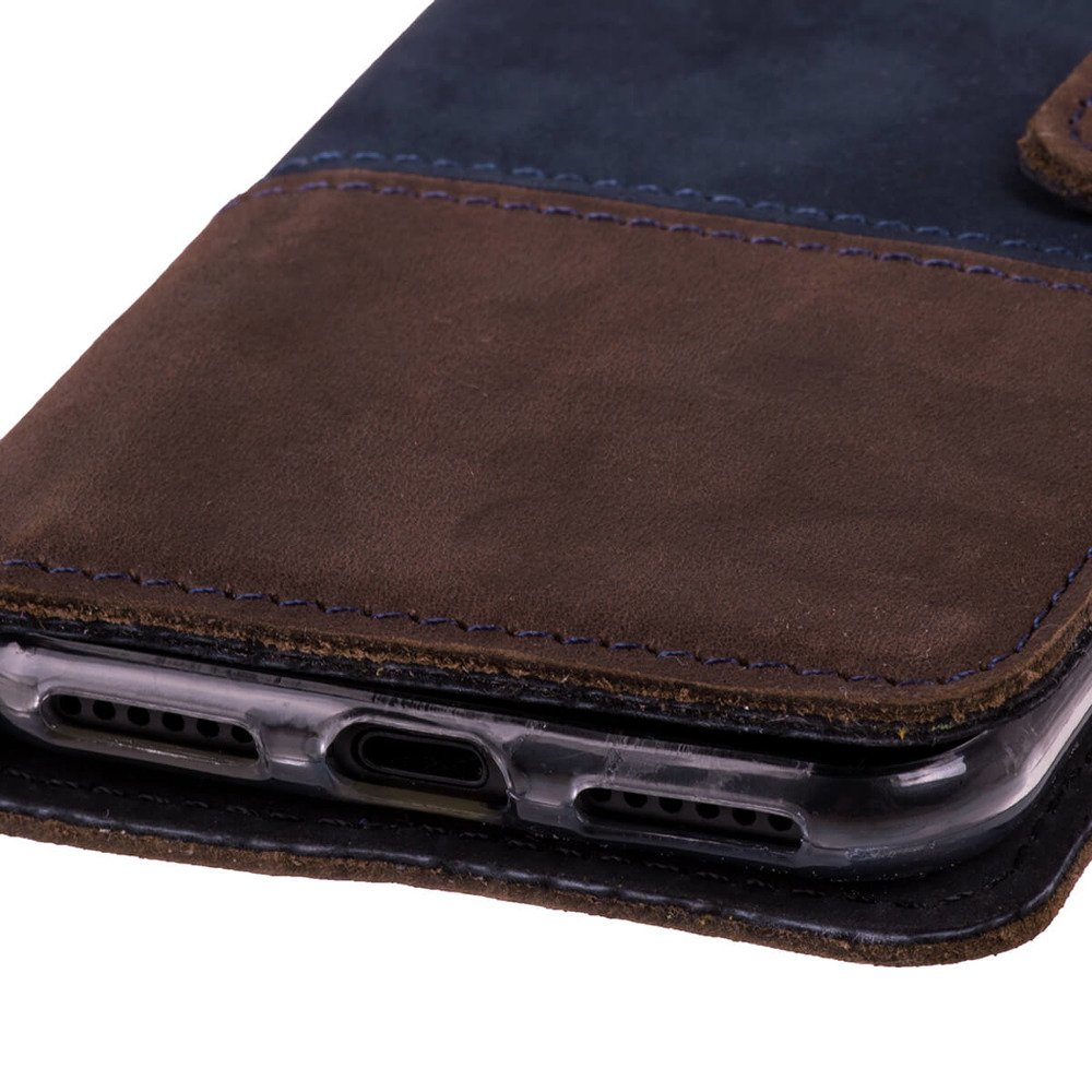 Wallet case Duo - Granatowy i Orzechowy